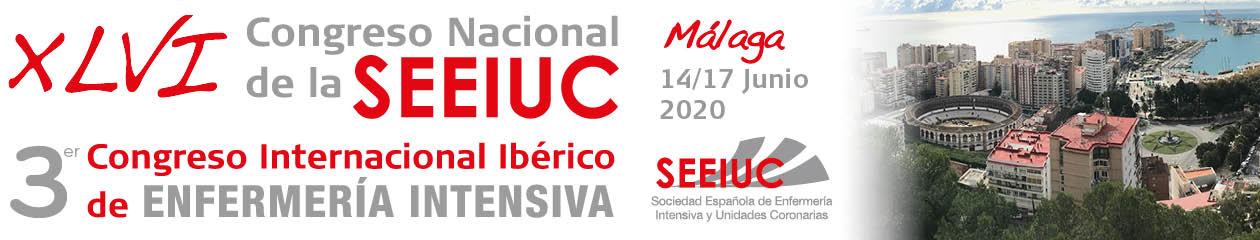 Banner del XLVI Congreso nacional de la SEEIUC. 3r congreso internacional ibérico de Enfermería intensiva. Málaga del 14 al 17 de junio de 2020